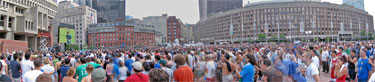 Panorama of World Cup viewing at Boston City Hall
