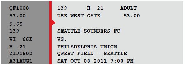 Seattle Sounders ticket